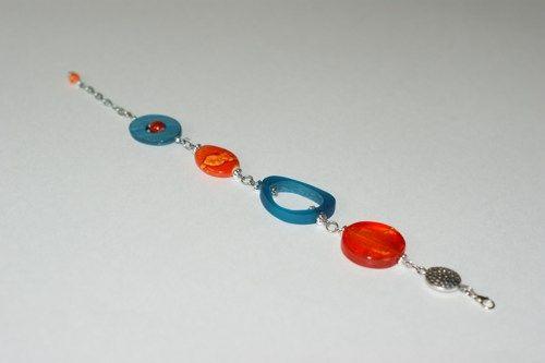 Summer trend - Orange and teal bracelet - Modern bracelet  | LesBijouxLibellule - Jewelry on ArtFire