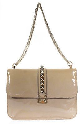 48d6123c25 Valentino Taupe Patent Leather Glam Rock Flap HandBag | Women's ...