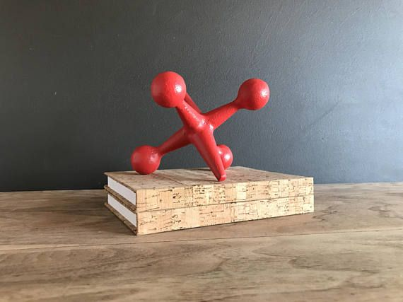 Mid Century Modern Red Home Decor - 1 Cast Iron Jack Bookend - Midcentury Satin Red Book End Paperweight or Retro Modern Pop Art