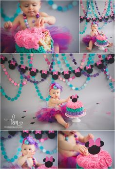 Minnie Mouse 1st Birthday Cake Smash Session - Birthday theme - pink, teal, and purple
