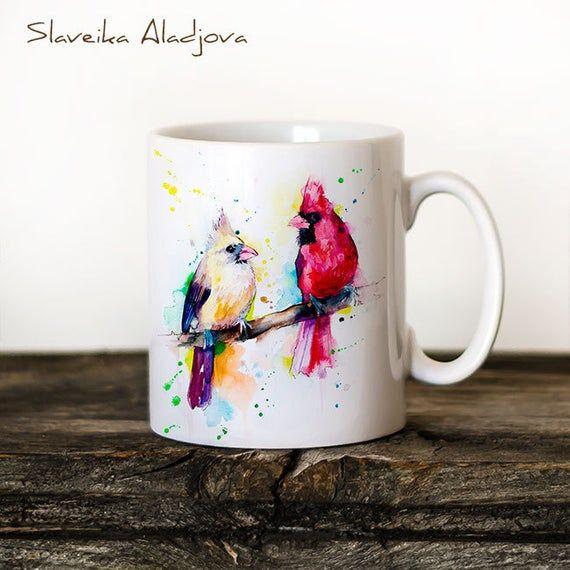 Cardinals Mug Watercolor Ceramic Mug Unique Gift Coffee Mug Animal