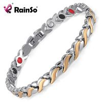 Rainso Health Magnetic Bracelet For Women Stainless Steel Bracelets & Bangles with Health Germanium Link Chain Bracelets 1551