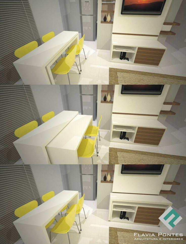 Solução para quem tem cozinha ou sala de jantar pequena: mesa que 'amplia'.