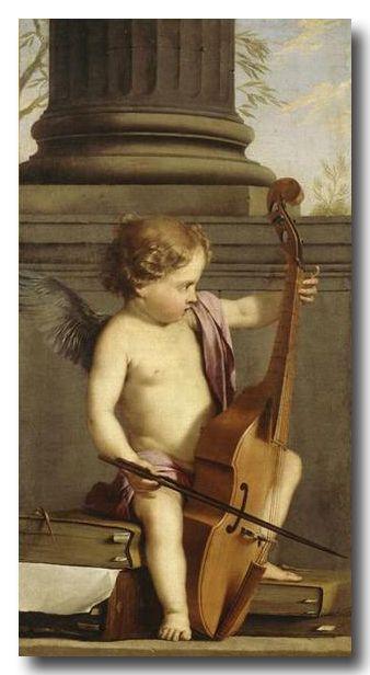 Laurent de La Hyre (1606-1656) - Putto jouant de la Viole de Gambe, huile sur toile, 105 x 56 cm, Musée national Magnin, Dijon, France