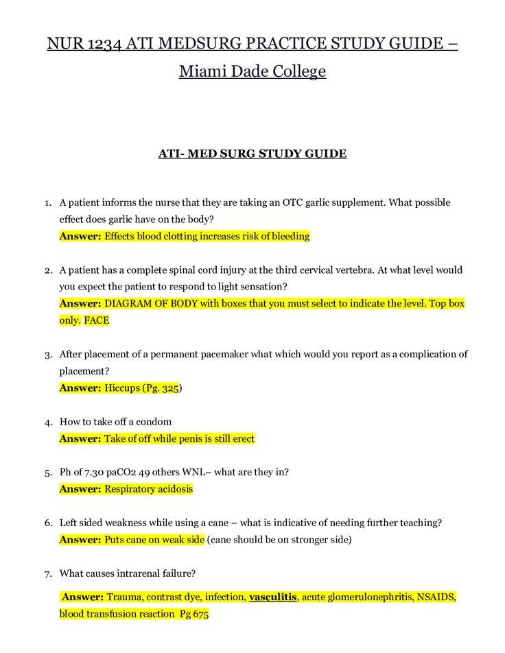 Nur 1234 Ati Medsurg Practice Study Guide Miami Dade College Ati Med Surg Study Guide Nursing School Notes Study Guide Peritoneal Dialysis