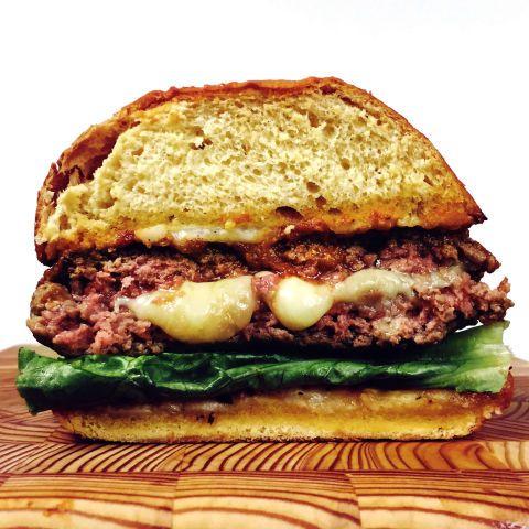 Mozzarella-Stuffed Meatball Burger On Garlic-Bread Buns
