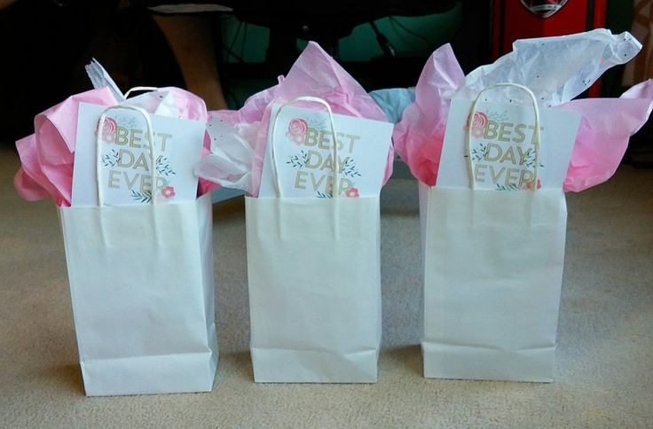 Bridesmaid Swag Bags, ready for giving tomorrow!! Also featuring VistaPrint invitations.