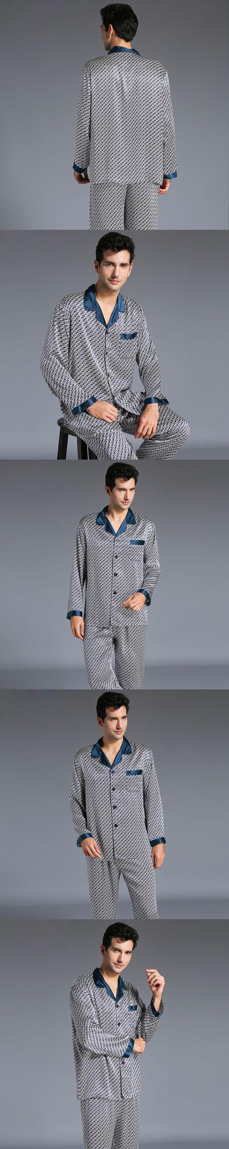 New Arrival Fashion Men Silk Pajamas Set Pyjamas Set Male Printed Long-Sleeved Sleepwear Soft Cozy For Sleep Lounge Set