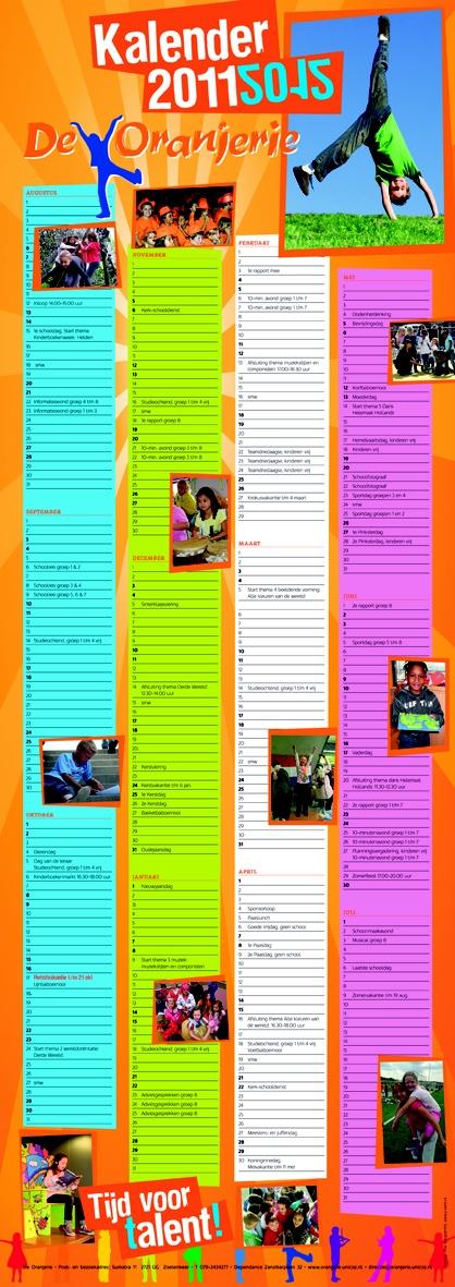 Schoolkalender     Schoolkalender 2011-2012 voor basisschool De Oranjerie in Zoetermeer. Formaat 840 x 297 mm