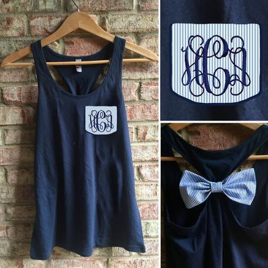 Monogrammed Seersucker Pocket Bow Racerback Tank tinytulip.com - Personalized Gifts at Great Prices - Personalized