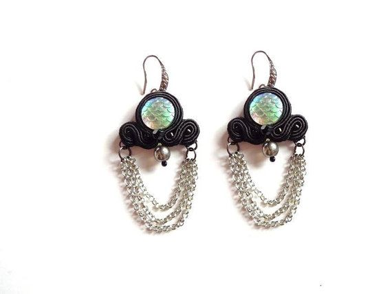 Soutache Earrings Mermaid Iridescent Fish Scale by MystereSoutache
