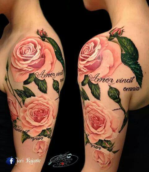 Prettiest pink rose tattoo I have seen!!!