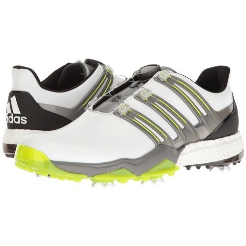 adidas Powerband BOA Boost Men's Golf Shoes - White/Iron Metallic/Solar Slime