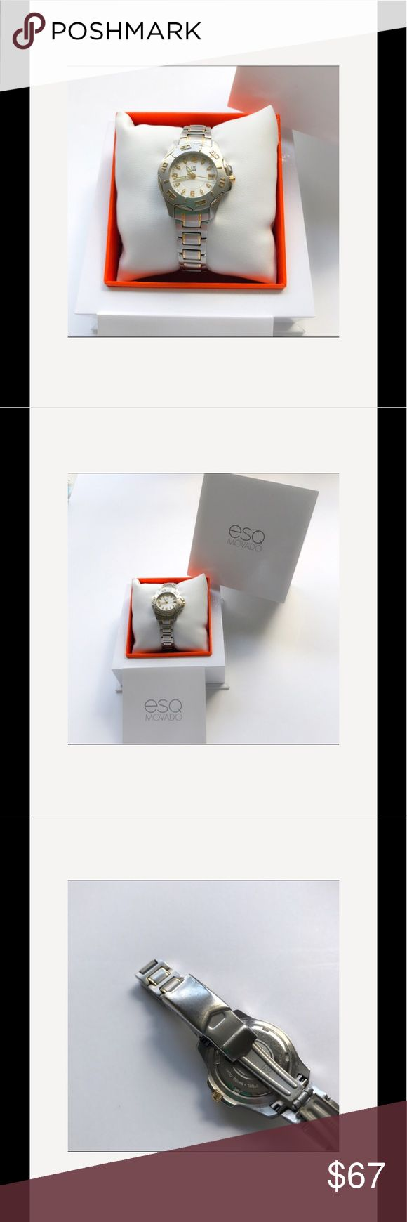 ESQ Movado Ladies 2 tone watch Silver with Gold Ladies ESQ Movado watch. Worn very few times. Has battery and is working. Clasp shows scuffing from normal wear. Has date window  and second hand. Stainless steel with gold colored accents. 6.5 inches around. Comes with original box Accessories Watches
