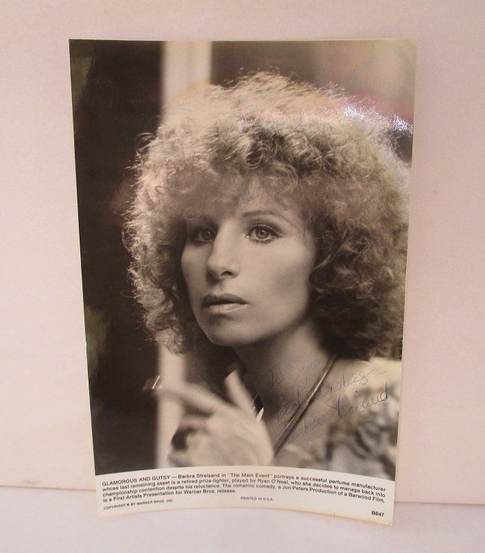 Barbra Streisand, The Main Event, Warner Bros. Photo. Photo is signed, but not personally by Barbra Streisand.