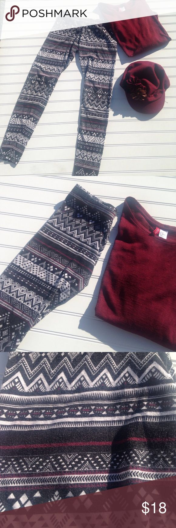 "Fall Leggings Full Tilt Full Tilt Fall Leggings, Approx measurements 13"" elastic waist & 32"" length. Black , white, Burgundy cotton soft design. Size XS. Full Tilt Pants Leggings"