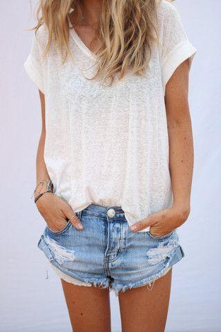 perfect v-neck and short shorts.