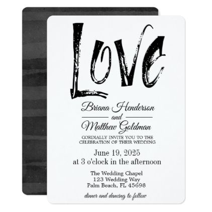 Black and White Wedding Invitation Typography - invitations custom unique diy personalize occasions