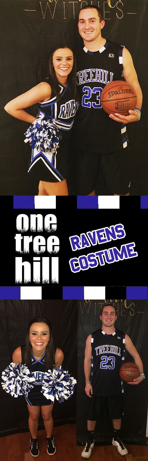 DIY One Tree Hill Ravens costumes. Nathan & Haley couples Halloween costume. Basketball player & cheerleader diy couples Halloween costume.