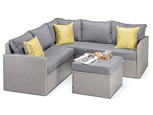 calabria grey rattan corner sofa with luxurious thick grey cushions grey rattan footstool and glass - Gartenmobel Grau Rattan