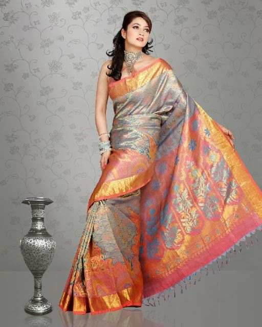 Fancy Saree Dresses Of Women For 2014 Designed With Pure Silk