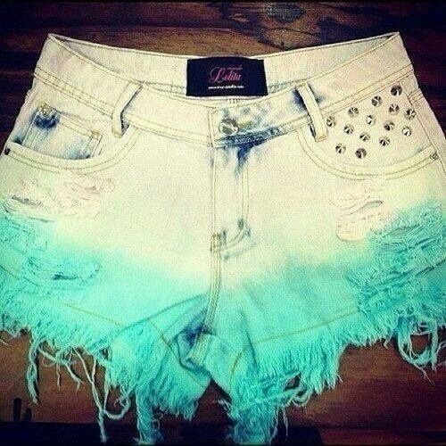 Spring / Summer Outfit - White to Teal Ombre Shorts with Studs