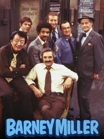 """Barney Miller.""  Yemana, Wojo, Harris, Barney, Dietrich (Steve Landesberg), Levitt (Ron Carey) and Inspector Frank Luger (James Gregory.)"