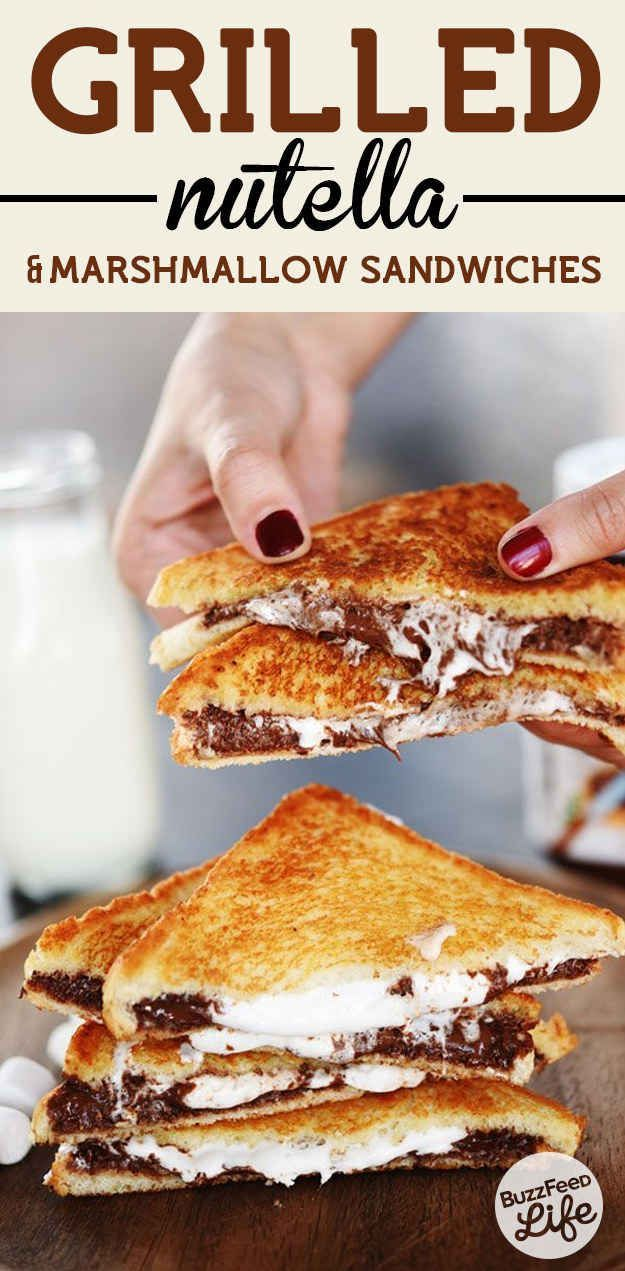 These Insanely Easy Nutella Desserts Will Make Everyone Love You. Nutella S' mite grilled sandwiches | NOM NOM ☮ re-pinned by http://www.wfpcc.com