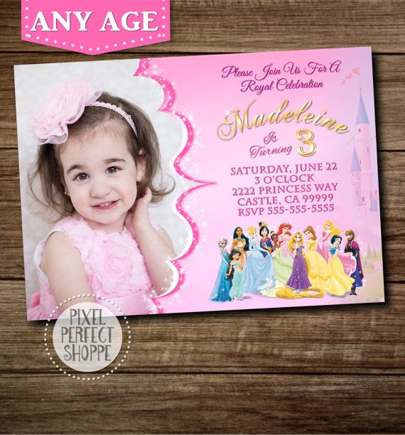25 best ideas about Disney princess invitations – Disney Photo Birthday Invitations