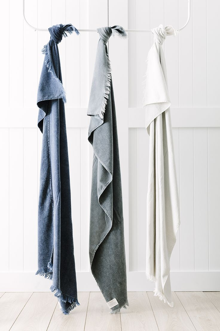 Lightweight bath sheets designed for quick drying.