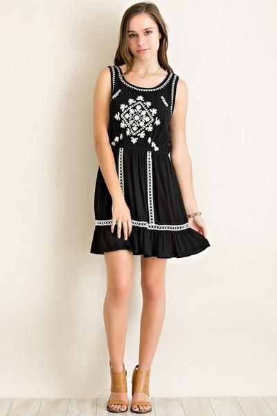 Free Bird Embroidered Dress (BLACK)