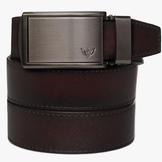 Mahogany Full Grain Leather Slidebelt with Winged Gunmetal Buckle