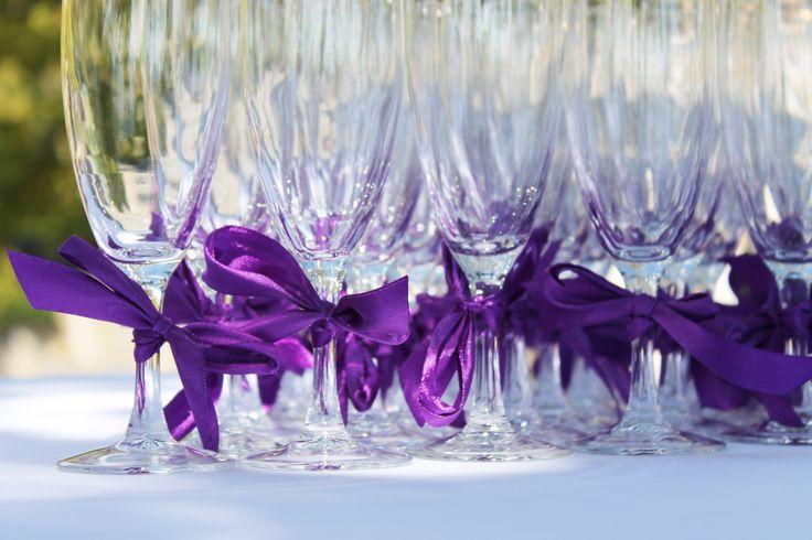 #champagne #glass #ribbon #bow #purple