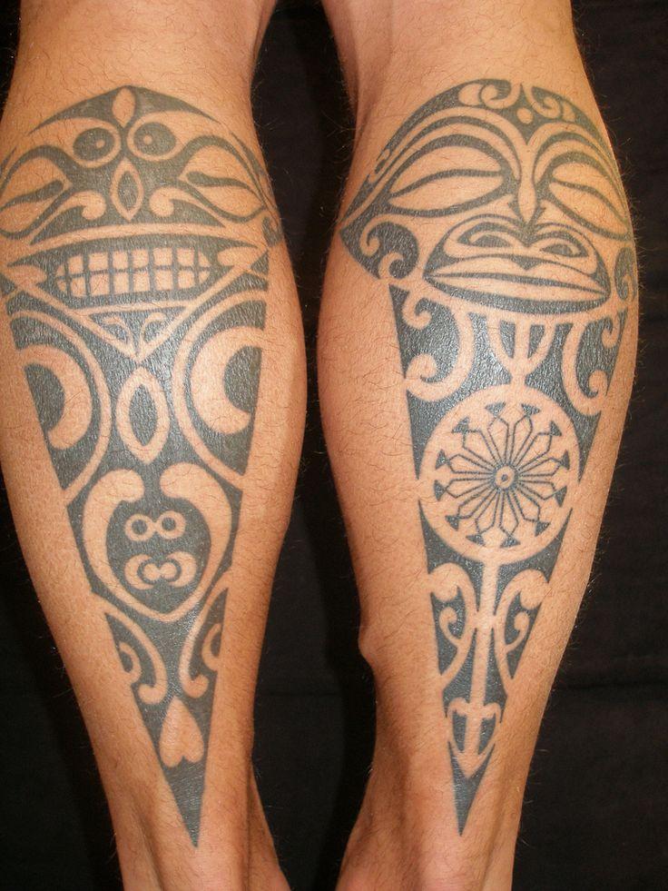 Traditional polynesian tattoos on both legs. Credits: Shannon Archuleta