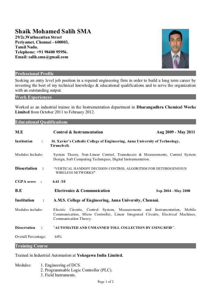 Fresher Of Instrumentation Engineer Resume Format For