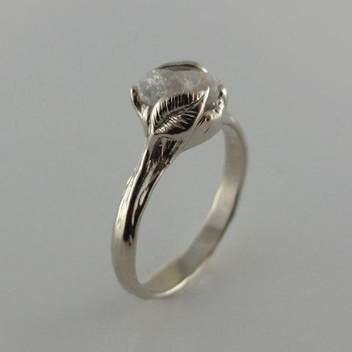Gold Leaf & Twig Diamond Wedding Set, Leaf and Twig Engagement Ring, Made to Order. Cruelty Free, Uncut Rough Diamond Rings by Dawn Vertrees