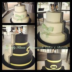 Half traditional, half batman wedding cake with Minnie & Mickey toppers (provided by the bride)
