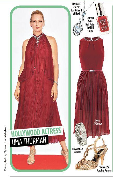 Uma Thurman - Red carpet glamour. Get the look @barrymcosmetics @oasisfashion @matalan @dorothyperkins