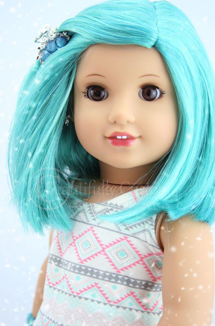 "Aquamarine Blue Green Colored Joy Doll Wig for 18"" Custom American Girl Dolls Wig Size 10-11: Beautifully Custom Exclusive"