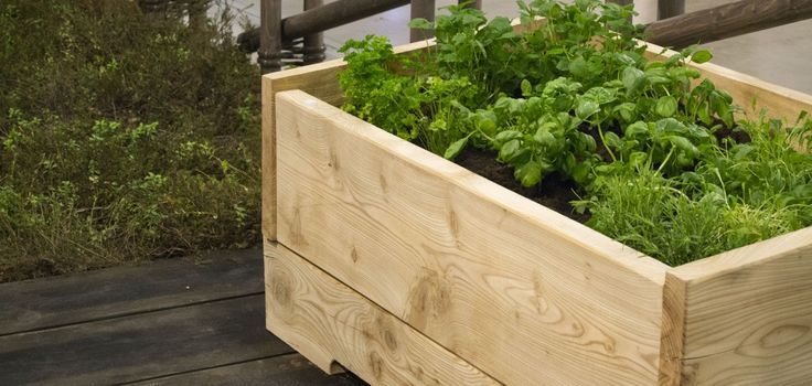 Ismon Hirsityön lehtikuusesta valmistetusta Kasvulaatikossa kasvatat yrtit ja salaatit pienemmälläkin pihalla näppärästi.