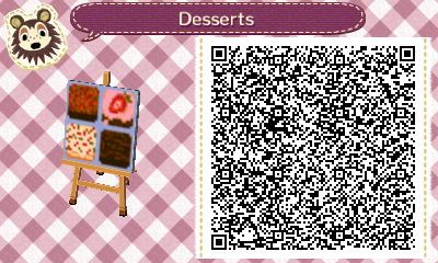 Animal Crossing QR Codes ❤ These are Really Cute!! TILE#1 of 2 Desserts pathway tiles- fruit cake, strawberry frosted chocolate cake, yellow cake with red and green sprinkles, and a brownie lol Sounds Yummy lol xD