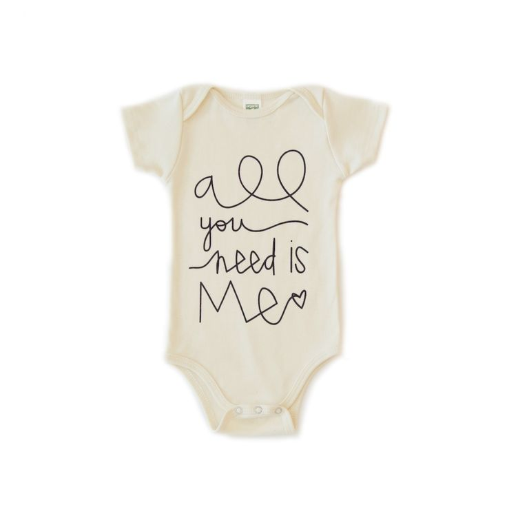 natural organic cotton onesie for baby boy baby girl, infant newborn. Layette onzie, onesie, bodysuit. gender neutral unisex baby clothes outfit. trendy modern hipster cute onsie coming home newborn all you need is me love quote made in usa graphic onzie