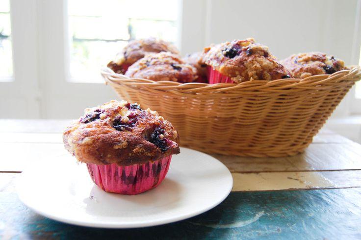 bosbessen muffins met crunchy toping