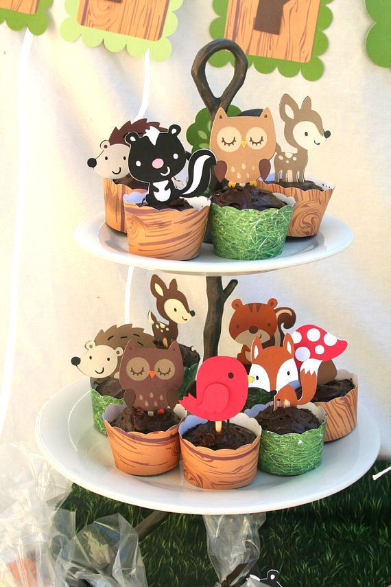 DIY Woodland Creatures Cupcake Toppers- You Pick 12. $4.50, via Etsy.: