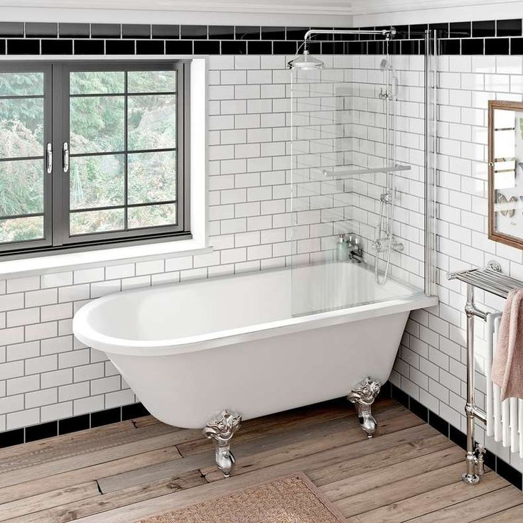Shakespeare single ended freestanding bath with shower screen