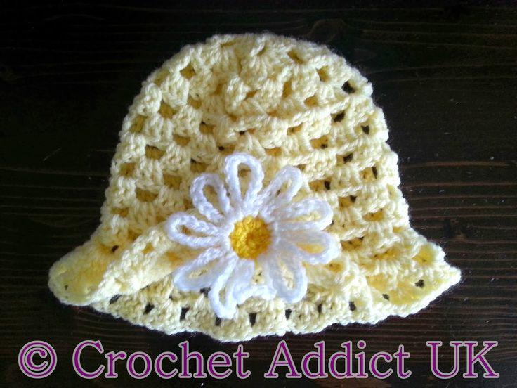 Free Crochet Pattern ~ Daisy Spring Easter Hat 3 - 6 months - crochetaddictuk