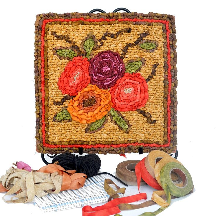 The second in a collection of garden themed panels for locker hooking, the Autumn Bouquet is a richly textured design with colorful flowers in raised relief. The kit includes pattern, instructions and