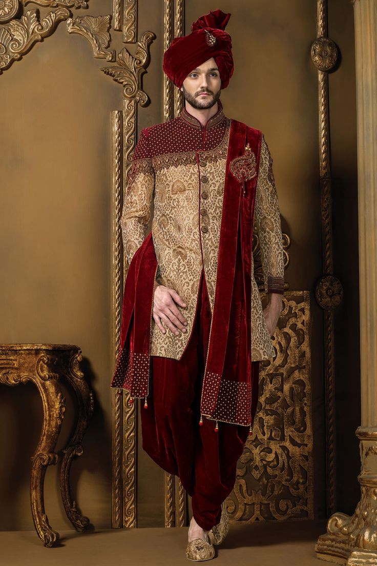 Dark #red & #gold khinkwab & #velvet resplendent #sherwani with mandarin collar -IW317