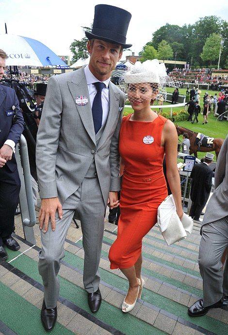 Jenson Button with girlfriend Jessica Michibata - royal Ascot 2012