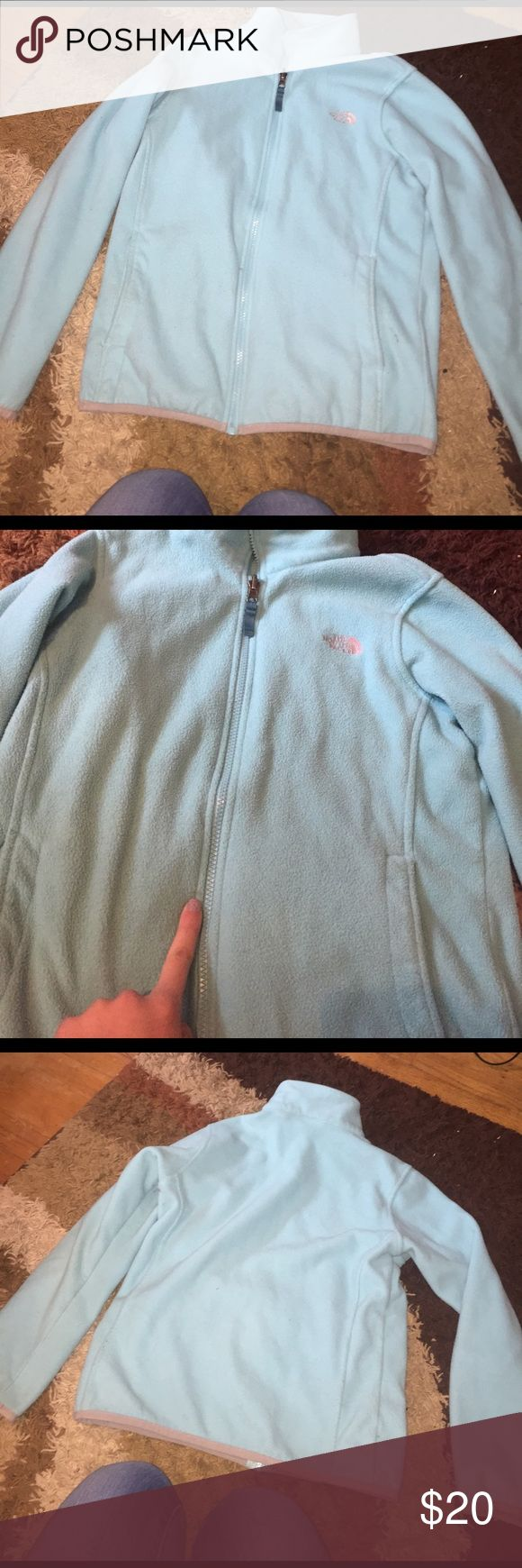 North Face Jacket North face jacket!!! In good condition , however there is a little mark that you can see in the picture , price reflect on it. It is a kids L (14/16)! It is still rather big but I'm now to tall for it. If you have any questions about sizing feel free to ask! The North Face Jackets & Coats